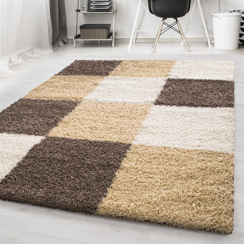 Shaggy Rugs Mocca Beige Cream Fluffy Bedroom Mat Small X Large Checkered Carpet