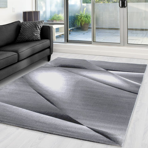Silver Grey Abstract Rug Small X Large Modern Pattern Carpet Bedroom Floor Mats