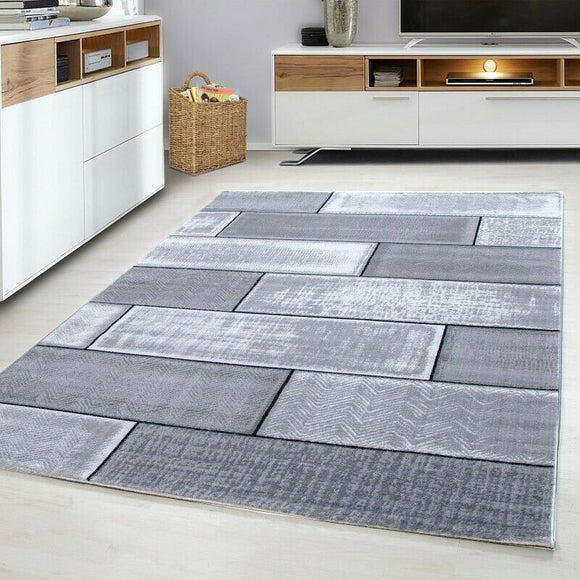 Modern Rug Black Grey Brick Wall Pattern Mats Small Large Bedroom Hallway Carpet