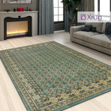 Traditional Oriental Rug Teal Blue Green Carpet Large Small Vintage Pattern Mat