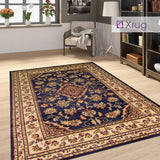 Navy Traditional Rug Oriental Blue Carpet Large Small Runner Vintage Bedroom Mat