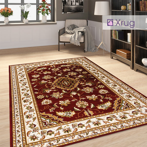 Red Oriental Rug Traditional Vintage Pattern Woven Carpet Large Small Runner Mat