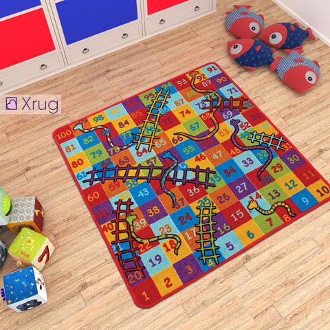 Kids Play Mat NON SLIP MACHINE WASHABLE Snakes And Ladders Nursery Mat for Childrens Bedroom Playroom 100x100cm