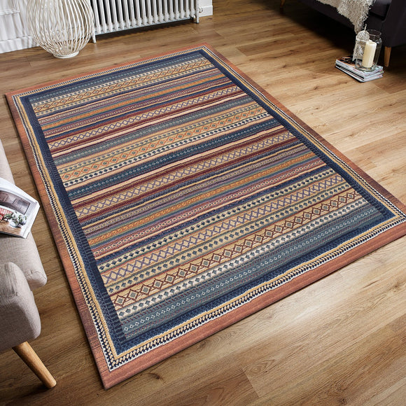 Colourful Rug Handwoven Look Ethnic Namad Striped Pattern Multicoloured Carpet Extra Large Small Runner Living Room Bedroom Mat