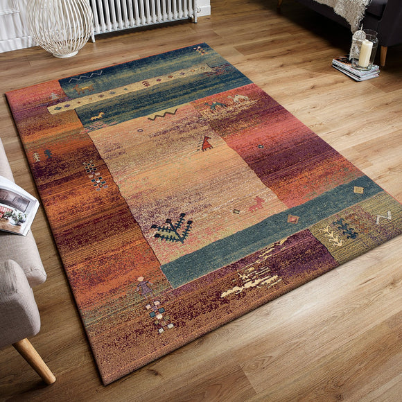 Colourful Rug Nomad Geometric Blue Rust Beige Tribal Ethnic Pattern Multicoloured Handwoven Look for Living Room Bedroom Extra Large Small Hallway Runner
