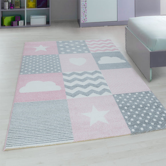 Star Nursery Rug Girls Pink Grey Bedroom Mat Modern Kids Childrens Round Carpet