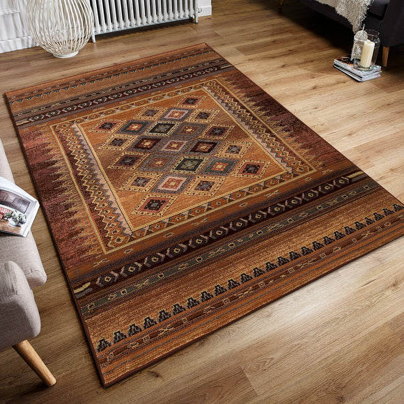 Modern Rugs Multicoloured Tribal Ethnic Striped Diamond Pattern Colourful Handwoven Look for Living Room Bedroom Extra Large Small Hallway Runner