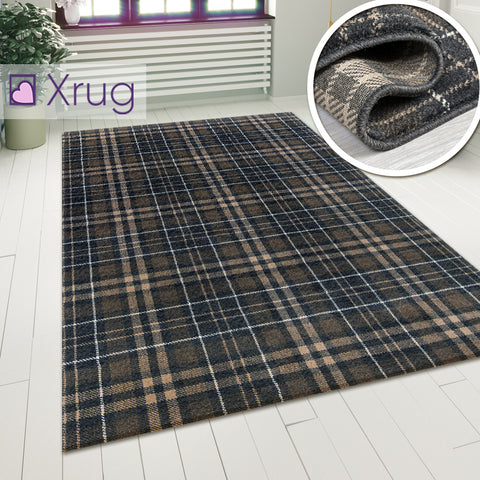 Tartan Checkered Rug Dark Grey Patterned Carpet Small Extra Large Modern Bedroom Hallway Runner Mat Geometric Living Room Area Lounge Woven Short Pile Contemporary Floor New