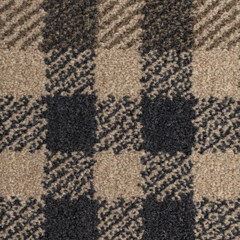 Tartan Checkered Rug Beige Natural Colour Patterned Carpet Small Extra Large Modern Bedroom Hallway Runner Mat Geometric Living Room Area Lounge Woven Short Pile Contemporary Floor New