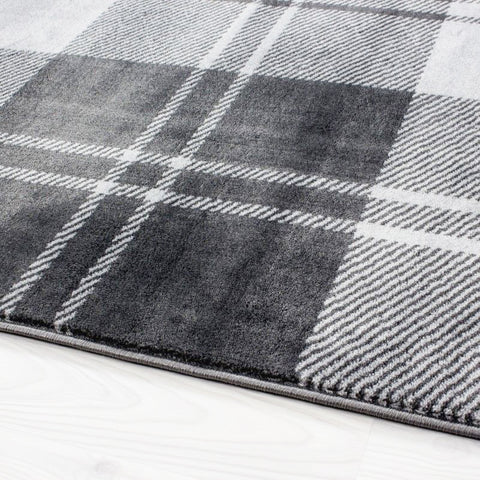 Modern Rugs Grey Check Pattern Carpet Small X Large Bedroom Floor Runner Mat New
