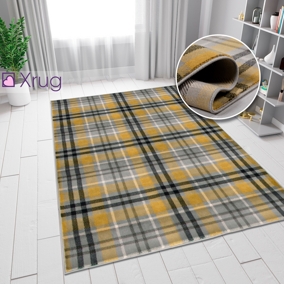 Tartan Rug Yellow Grey Ochre Check Carpet Small Extra Large XL Hallway Runner Woven Carpet Living Room Bedroom Area Mat 80x150 60x230 120x170 160x230 200x290 Polypropylene