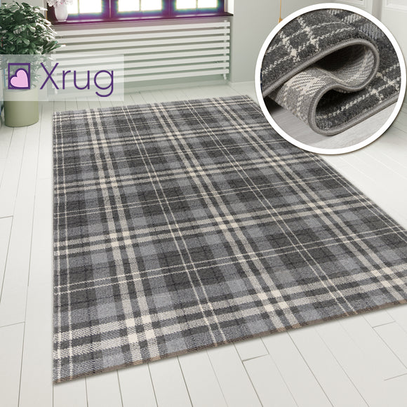 Tartan Checkered Rug Silver Grey Patterned Carpet Small Extra Large Modern Bedroom Hallway Runner Mat Geometric Living Room Area Lounge Woven Short Pile Contemporary Floor New