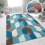 Teal Blue Brown Grey Rug Geometric Hand Carved Pattern Carpet Modern Bedroom Mat