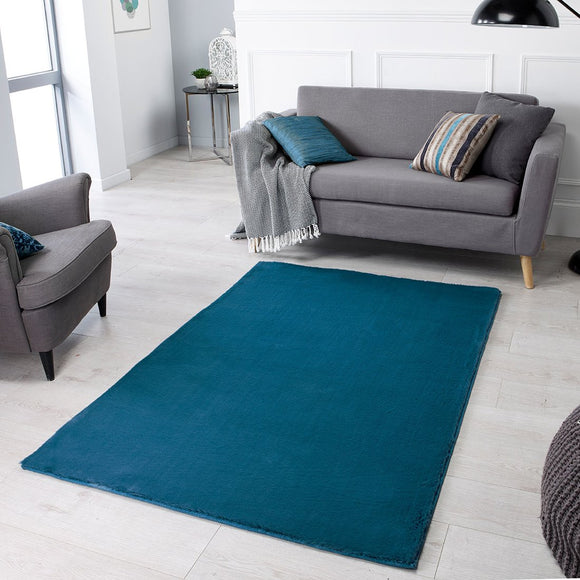 Teal Rug Super Soft Blue Plain Living Room Bedroom Carpet Short Pile Area Mat