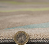 Teal Green Rug Beige Contour Cut Pattern Carpet Modern Abstract Bedroom Area Mat