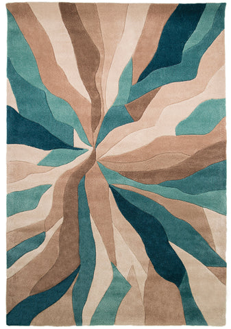 Teal Rugs Beige Hand Carved Pattern Abstract Carpet Bedroom Mat Small Large XL