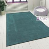 Teal Wool Rug Modern Contour Cut Border Pattern Mat Small X Large Bedroom Carpet