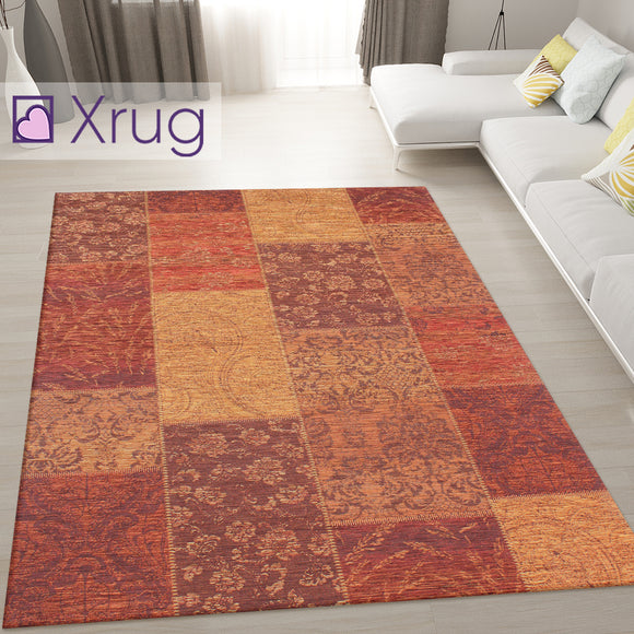 Terracotta Rug Patchwork Chenille Rugs Modern Living Room Mat Floor Carpet Checkered Geometric Bedroom Area Lounge Short Pile Contemporary Designer Woven Small Large