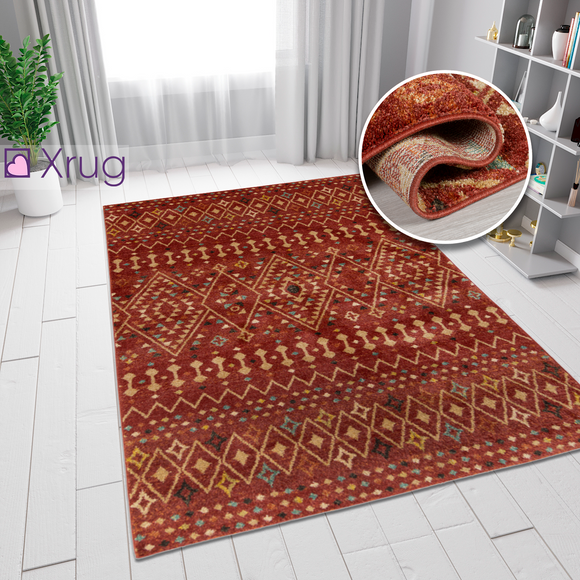 Modern Red Terracotta Rust Orange Patterned Rug Berber Design Woven Bedroom Living Room Bedroom Area Rug Carpet Small Large Floor Mat 120x170 160x230 Polypropylene
