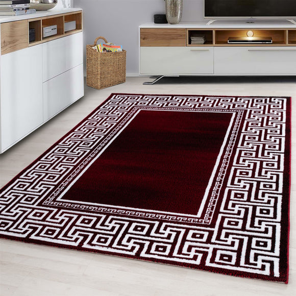 Contemporary Modern Geometric Bordered Traditional Oriental Rug Red Cream White Patterned Carpet Small Extra Large XL Living Room Bedroom Area Lounge Mats Woven Polypropylene Heatset Short Low Pile 120x170 200x290 160x230 80x150 80x300