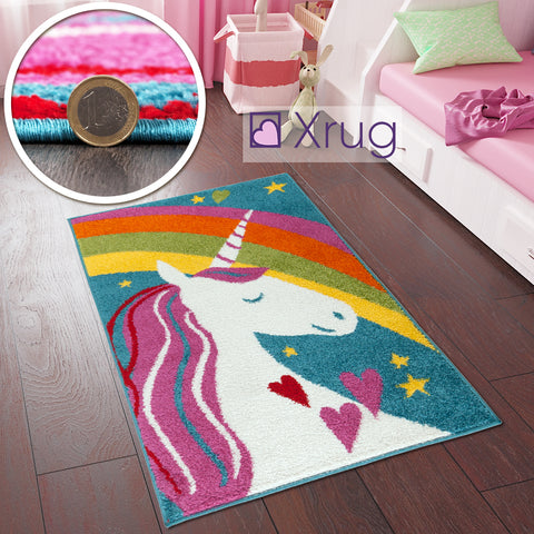 Кids Unicorn Rug Woven Girls Bedroom Baby Nursery Rug Playroom Mat 80x120 Carpet