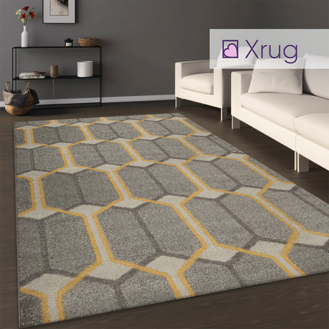 Grey Yellow Rug Modern Design Carpet Geometric Large Small Living Room Woven Mat