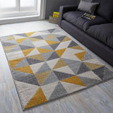 Grey Yellow Ochre Rug Geometric Long Runner Woven Rug Small Extra Large Living Room Carpet New Mat