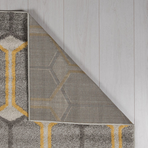 Grey Yellow Ochre Light Grey Dark Grey Rug Geometric Trellis Pattern Carpet Modern Design Bedroom Area Mat Small Extra Large Hall Mat Living Room Lounge Woven Short Pile Low Pile Contemporary Floor New Polypropylene 100x150cm 60x220cm 133x185cm 200x275cm