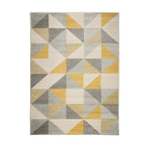 Geometric Rug Yellow and Grey Cream Pattern Runner Carpet Floor Mat Small Large XL