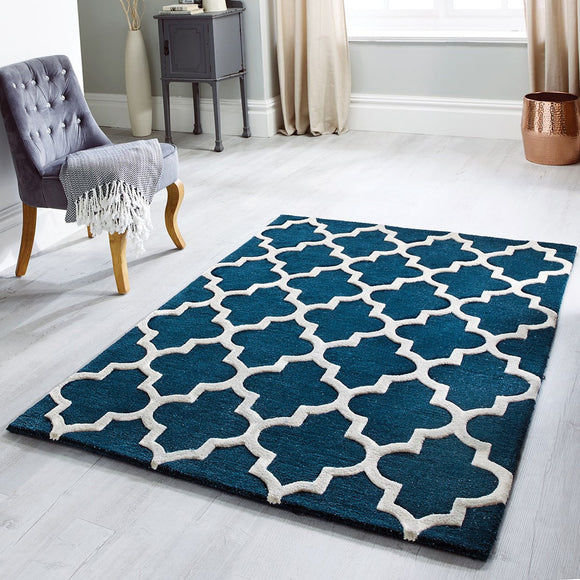 Hand Tufted Rug Emerald Green Moroccan Trellis Wool & Viscose Thick and Heavy Natural Carpet for Living Room Bedroom