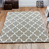 Hand Tufted Rug Beige Moroccan Trellis Wool & Viscose Thick and Heavy Natural Carpet for Living Room Bedroom