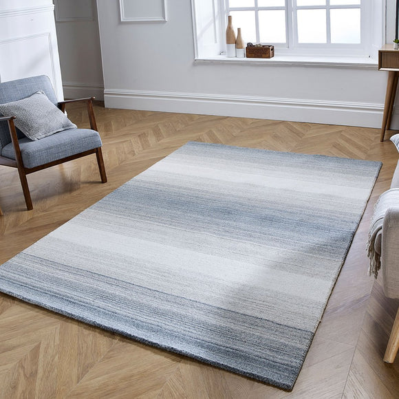 Wool Rug for Living Room Bedroom Handicraft Striped  Grey Cream Middle Pile Natural Carpet Mat Grey