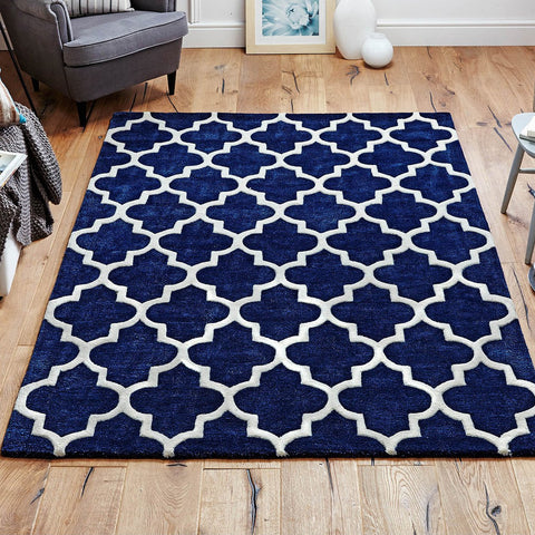 Navy Blue Rug Hand Tufted Moroccan Trellis Wool & Viscose Thick and Heavy Natural Carpet for Living Room Bedroom
