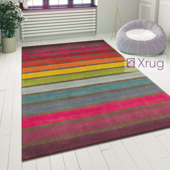 Wool Rugs Multi Colour Striped Pattern Carpet Small X Large Bedroom Runner Mat