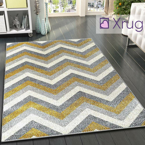 Mustard Yellow Grey Rug Chevron Zig Zag Woven Short Pile Carpet Mat for Living Room & Bedroom