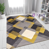 Yellow Ochre Grey Rug Geometric Hand Carved Pattern Carpet Modern Room Floor Mat