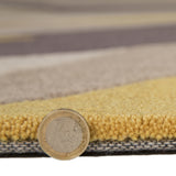 Yellow Ochre Rug Mustard Brown Beige Hand Carved Pattern Mat Modern Room Carpet