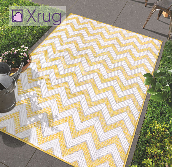Yellow Pattern Rug Indoor Outdoor Garden Patio Mat Water Resistant Runner Carpet
