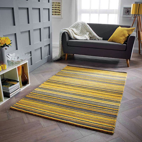 Wool Rug Handmade Yellow Modern Striped Living Room Bedroom Carpet Thick Mat Runner New