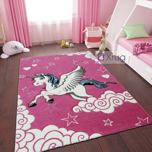 Kids Pink Rug Unicorn Girls Nursery Carpet Childrens Mat Woven Play Room Mat for Baby Girls Bedroom