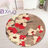Red Beige Rug Thick Soft Carpet Hand Carved Floral Pattern Small Large Circle XL