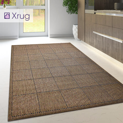 Brown Kitchen Rug Non Slip Carpet Large Small  Geometric Check Mat