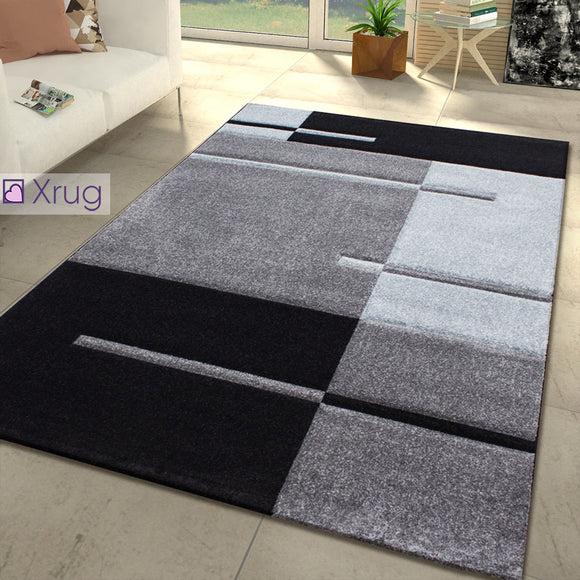 Grey Geometric Rug Extra Large Small Woven Runner Contour Cut Patterned Area Mat Living Room Bedroom Carpet