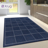 Blue Kitchen Rug Non Slip Navy Check Carpet Large Small Runner Heavy Duty Mat