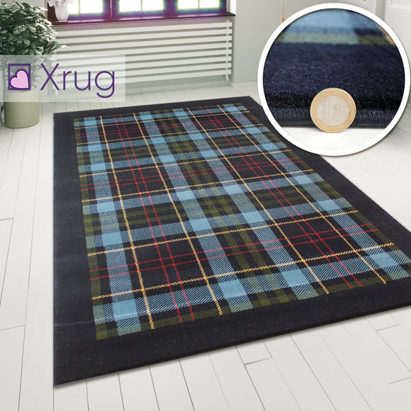 Blue Tartan Rug 120x170 4'x5'6 Modern Checkered Carpet Short Pile Rugs Floor Mat