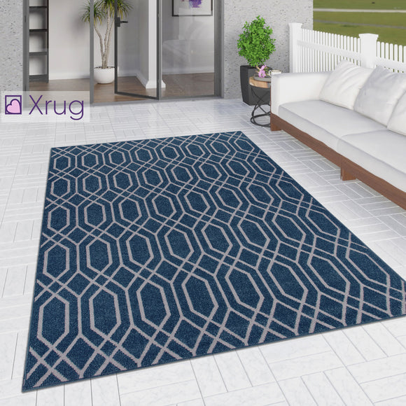 Outdoor Rug Navy Blue Moroccan Trellis Pattern Geometric Mat for Garden Patio Terrace Balcony