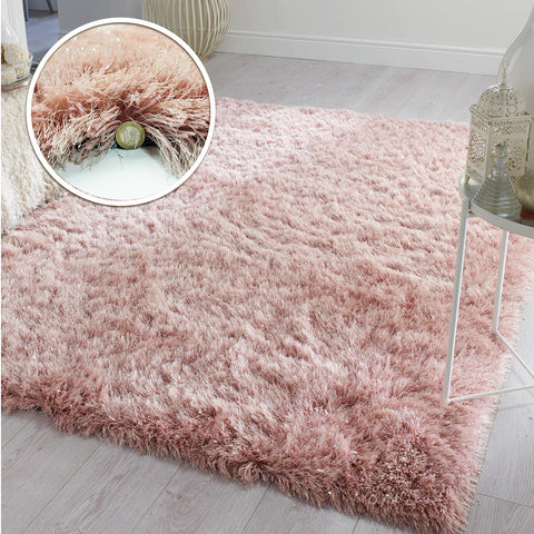 Blush Pink Rug Soft Fluffy Sparkle Shaggy Carpet Woven Thick Rug Mat Large Small