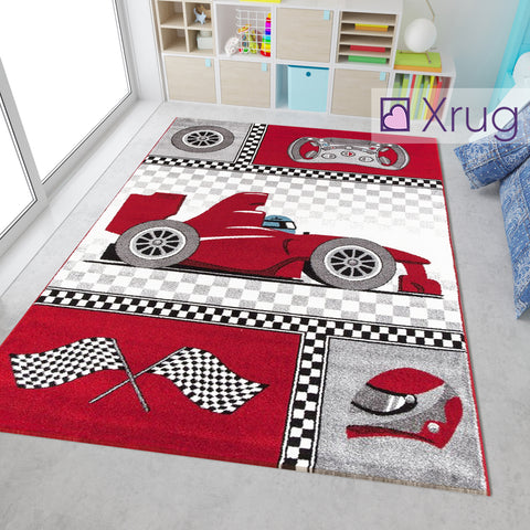 Childrens Car Rug Red Grey White Kids Play Carpet Small Large Baby Boys Room Mat