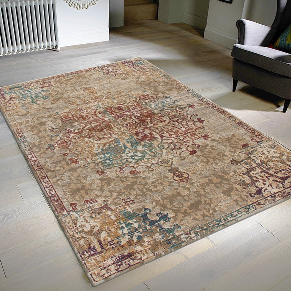 Vintage Distressed Rug Floral Oriental Pattern Large Small Runner Carpet Living Room Bedroom Mat