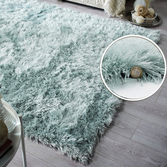 Duck Egg Rug Soft Fluffy Sparkle Green Shaggy Carpet Woven Thick Mat Large Small